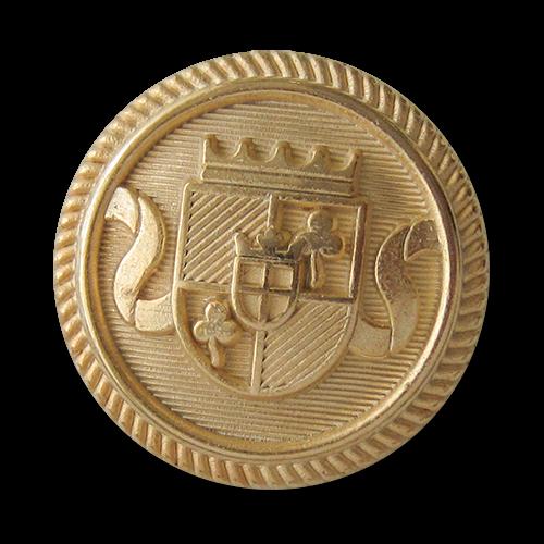 www.knopfparadies.de - 5754go - Blazerknöpfe aus Metall mit gekröntem Wappen