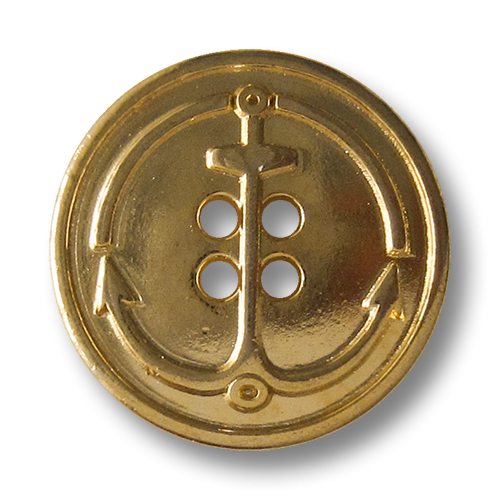 www.Knopfparadies.de - 5804gg - Maritime Ankerknöpfe aus Metall in Glänzend Gold