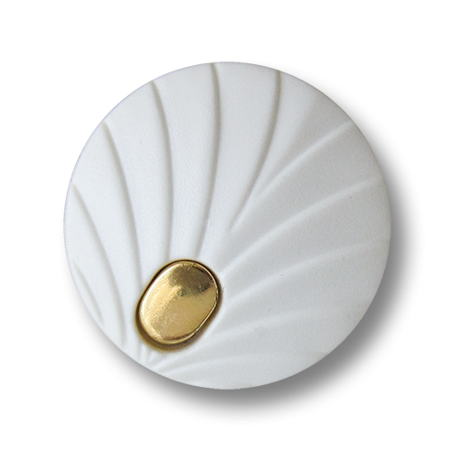 www.Knopfparadies.de - 1588wg - Elegante weiß goldene Ösen Kunststoffknöpfe