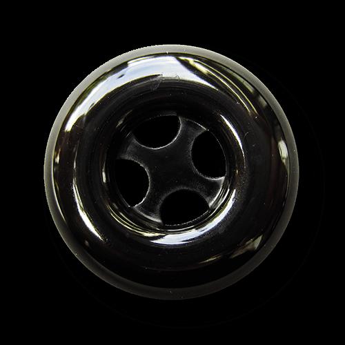 Attraktiver schwarz glänzender Kunststoff Knopf
