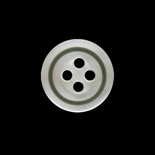 www.knopfparadies.de - 5931gg - Weiß schimmernde Blusenknöpfe mit olivegrünem, schmalen Rand