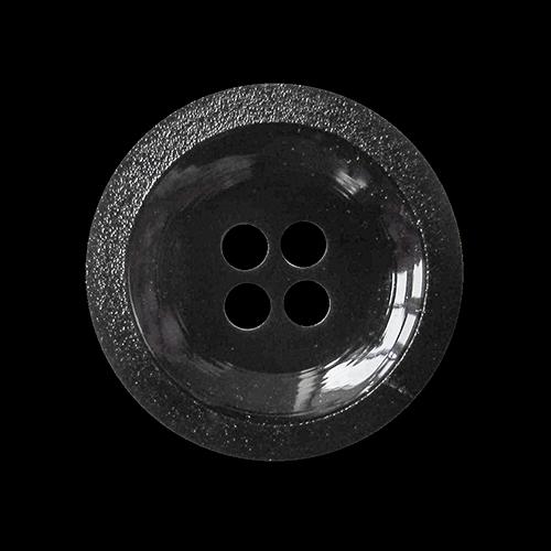 Schwarzer klassischer Basic Vierloch Kunststoff Knopf