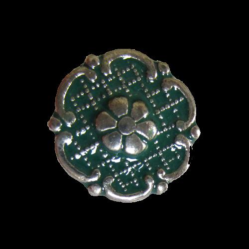 Süßer grüner altsilberfb. Trachtenknopf in Blütenform