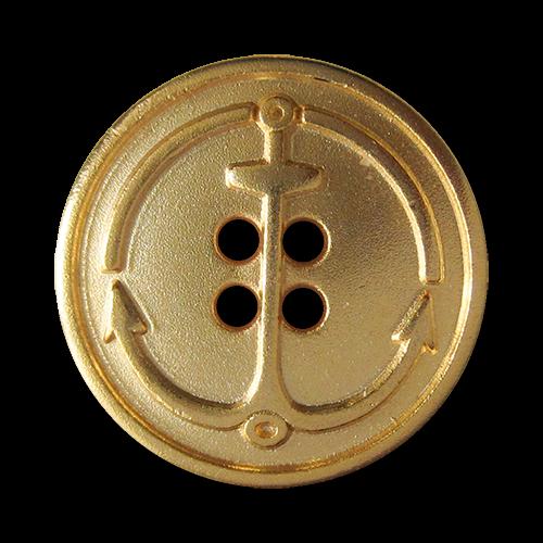 www.Knopfparadies.de - 5804mg - Maritime Ankerknöpfe aus Metall in Matt Gold