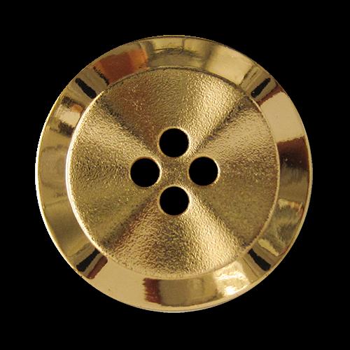 www.Knopfparadies.de - 1578go - Gewellte Kunststoffknöpfe in goldener Metall Optik