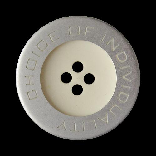 www.Knopfparadies.de - 5443sw - Moderne weiß silberne Vierloch Kunststoffknöpfe mit Schriftzug