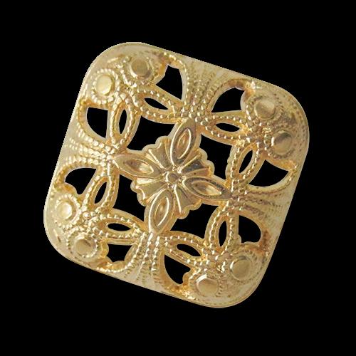 www.Knopfparadies.de - 5958go - Edle Durchbruchknöpfe aus Metall in Gold