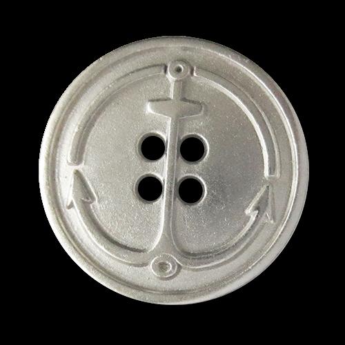 www.knopfparadies.de - 5804sm - Matt silberfarbene Metallknöpfe mit Anker als Motiv
