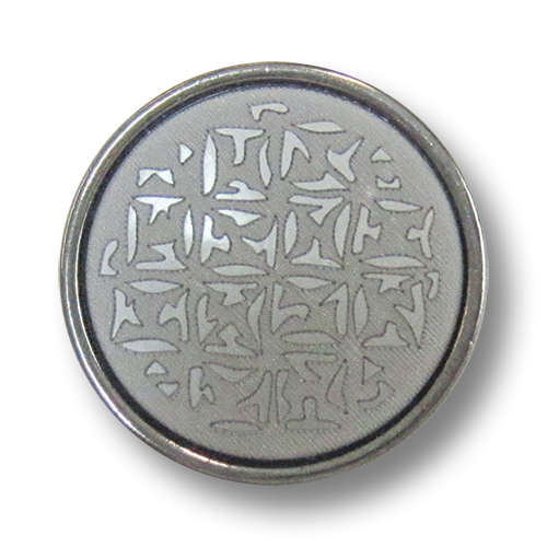 www.Knopfparadies.de - 0512hg - Edle gemusterte Metallknöpfe in Silber & Hellgrau