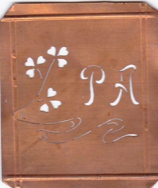 www.knopfparadies.de - PA-sch-413 - Außergewöhnliche alte Monogrammschablone PA
