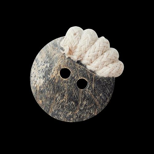 Echter Büffel Horn Knopf mit naturfb. umwickelten Rand