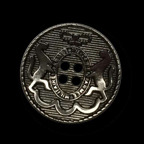 Eleganter Vierloch Wappen Metall Knopf mit Pferden