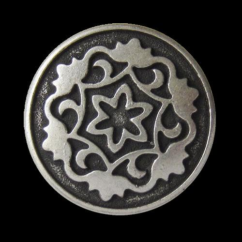 www.Knopfparadies.de - 0574as - Edle altsilberne Metallknöpfe mit Blumen Motiv