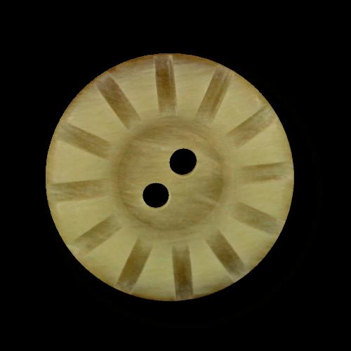 Beige melierter Knopf in Horn Optik mit Rillen Muster