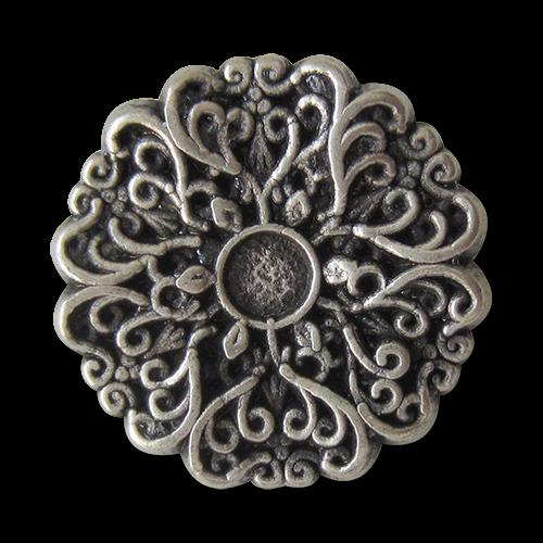www.Knopfparadies.de - 5413as - Zauberhafte Metallknöpfe in Altsilber wie nostalgische Blume