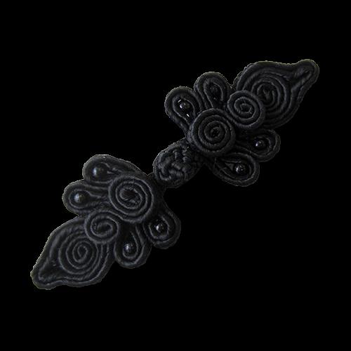www.Knopfparadies.de - 5730sc - Edle schwarze Posamentenverschlüsse mit Perlen