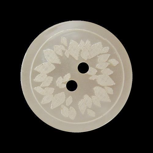 Cremeweißer Zweiloch Kunststoff Knopf in Perlmutt Optik mit floralem Motiv