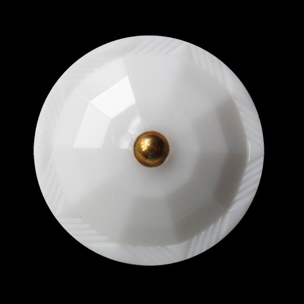 Edler weiß facettierter Knopf wie alter Glasknopf