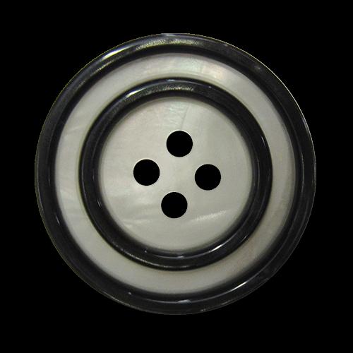 www.Knopfparadies.de - 5835ps - Elegante perlmutt weiße Kunststoffknöpfe mit schwarzen Kreisen