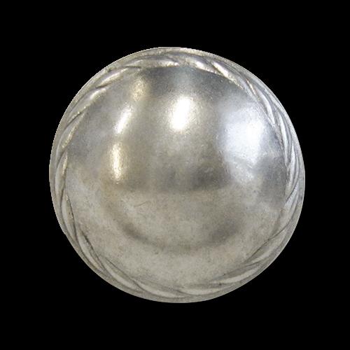 www.Knopfparadies.de - j030as - Gewölbte Ösenknöpfe aus Metall in Altsilber mit edlem Zierband