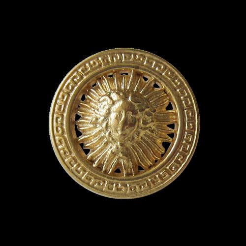 www.Knopfparadies.de - y080go - Extravagante Metallknöpfe mit Medusa Motiv und Mäander Muster