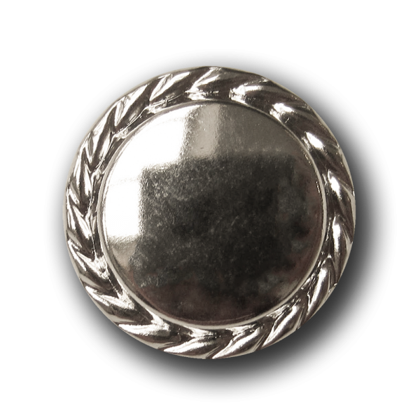 Silber glänzender Metallblech Knopf m. Kordel Rand