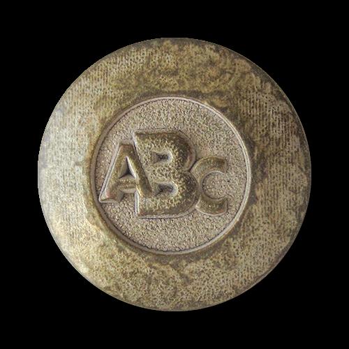 www.Knopfparadies.de - 1623vi - Moderne Metallknöpfe mit ABC Motiv in Bicolor Optik