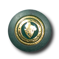 Kleiner edler dunkelgrün goldfarbener Knopf mit Wappen