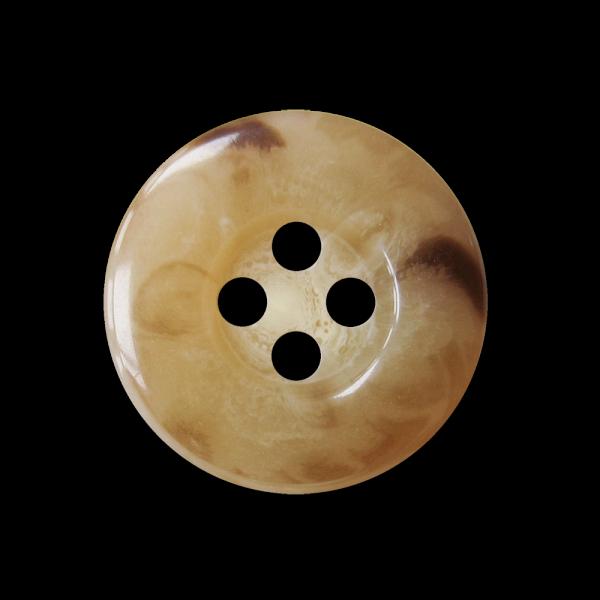 Edler hellbraun melierter Vierloch Knopf in Horn Optik