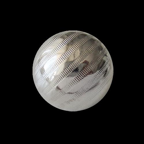 www.Knopfparadies.de - 1656sg - Gestreifte Ösenknöpfe aus leichtem Metallblech in Silber