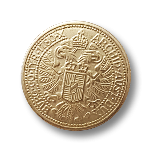 Goldfarbener Münzknopf aus Metall für Trachten
