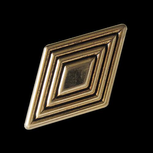 Große altgoldfarbene Ösen Metallknöpfe in Rautenform