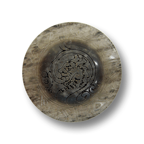 Großer grau melierter Mantel Knopf mit Drachen Motiv
