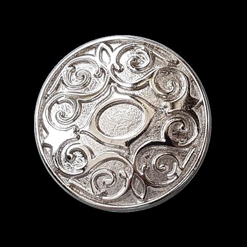 Silberfarbener Metallknopf mit elegantem Muster