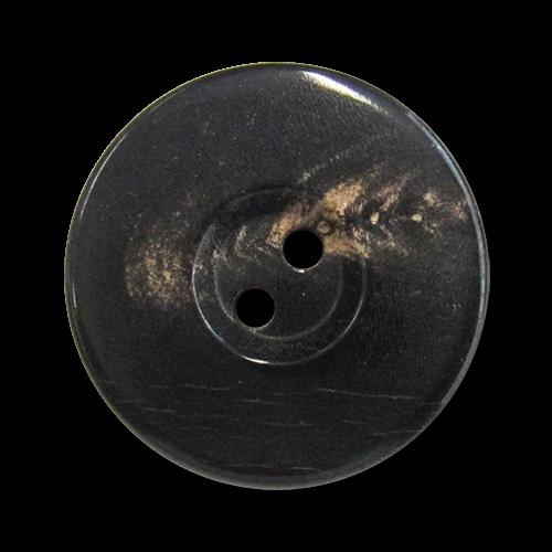 www.knopfparadies.de - 5978ss - Elegante Büffelhornknöpfe mit zwei Löchern und breitem Rand