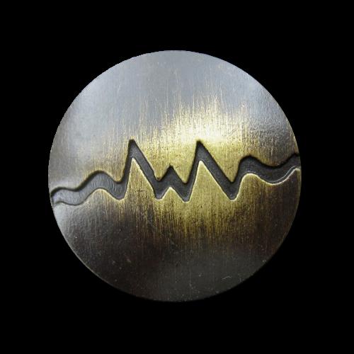 Altmessingfarbener Metallknopf mit Kurve