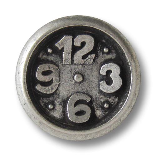 www.Knopfparadies.de - 0285as - Originelle Metallknöpfe in Altsilber mit Uhr Motiv
