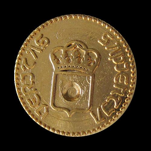 www.Knopfparadies.de - 3025go - Goldene Metallknöpfe mit Wappen, Krone & lat. Inschrift in Münz Optik
