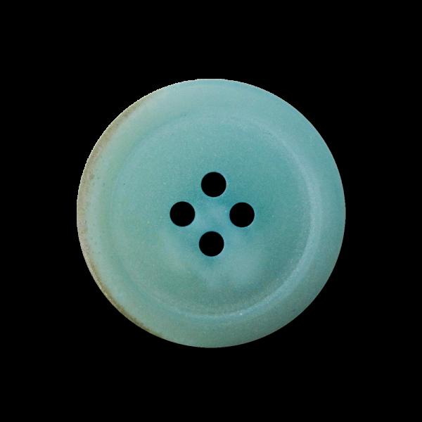Hellblau melierter Kunststoff Knopf mit Brand Muster