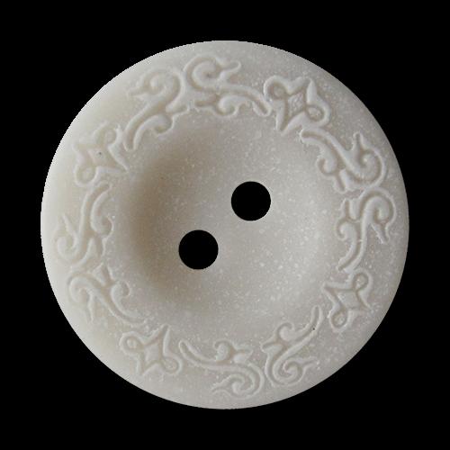 www.Knopfparadies.de - 3069we - Weiße hübsche Kunststoffknöpfe mit Ranken Muster