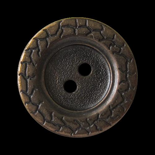 www.knopfparadies.de - 1525am - Flache Metallknöpfe mit zwei Löchern in altmessing
