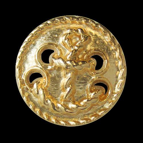 www.knopfparadies.de - 2523gg - Goldfarbene Metallknöpfe mit Motiv: Anker