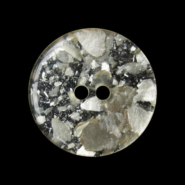 Moderner schwarzer Knopf mit metallic silber Glitter