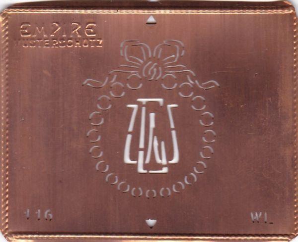 Stilvolle Jugendstil Kupfer Schablone mit Kranz und Schleife - Rarität - WL