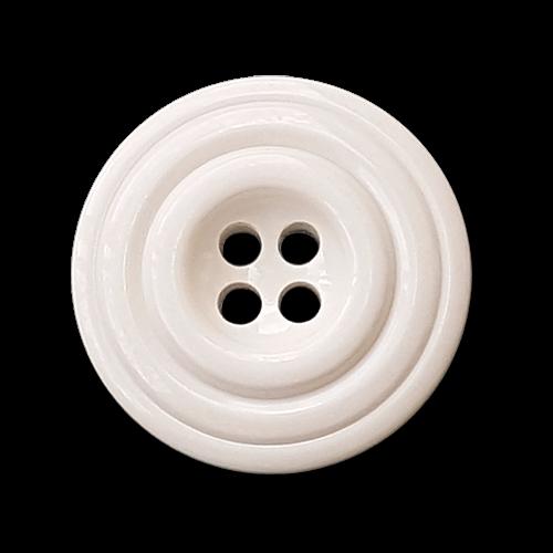 Weiße Knöpfe, Kunststoff, Rillenmuster