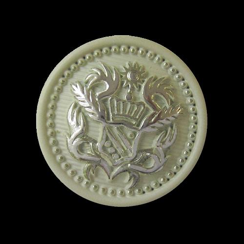 Hellgrün silberfarbener Metall Ösen Knopf mit Wappen Motiv