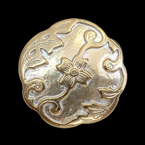 www.knopfparadies.de - 5447go - Goldfarbene Kunststoffknöpfe mit Blüten, Ranken, Blättern