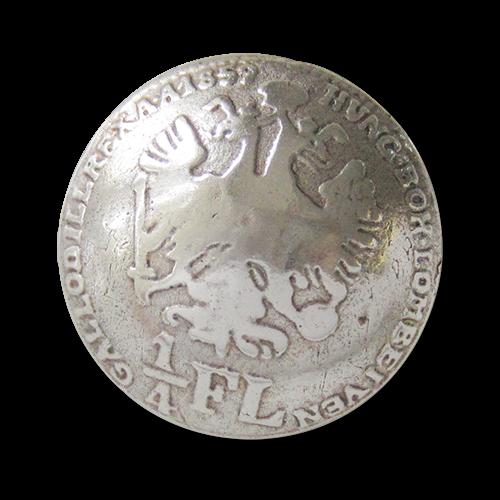 Glänzend altsilberfb. Metallknöpfe mit historischem Münz Motiv: Doppelkopfadler Österreich - 1/4 Flo