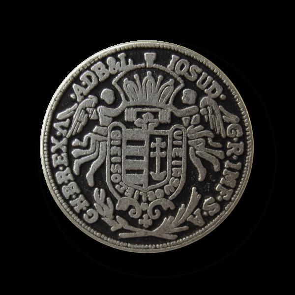 Edler silberfb. Münz Metall Knopf mit Wappen & Engeln