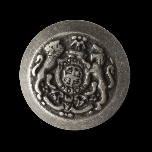 Altsilberfarbener Metall Ösen Knopf mit Wappen